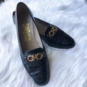 Womens Salvatore Ferragamo black loafers size 8.5